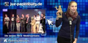 Pia Tiedeken präsentiert den Beitrag über die Niedersachsen Filmklappe